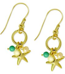 kona bay starfish charm & bead drop earrings in gold-plate