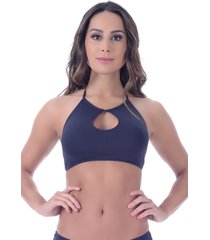 top summer soul cropped frente única preto