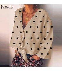 zanzea camisas con botones de lunares de manga larga para mujer blusas sueltas con cuello en v blusas -beige