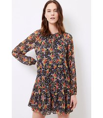 loft petite floral tie neck swing dress