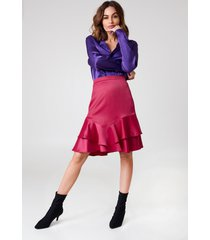 na-kd party shiny frill skirt - pink,red