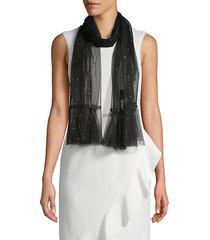 embellished mesh scarf