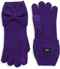 bow-detailed knit gloves