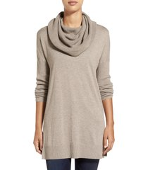 women's caslon side slit convertible cowl neck tunic, size small - grey