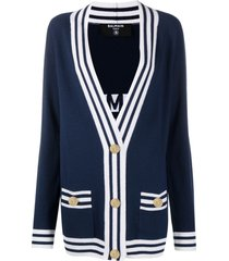 balmain buttoned-logo cardigan