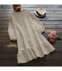 zanzea vestido camisero de manga larga para mujer vestido midi con dobladillo suelto y plisado vintage de gran tamaño -beige