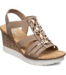 65596-64 sandalette med klack espadrilles beige rieker