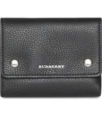 burberry small leather folding wallet - black