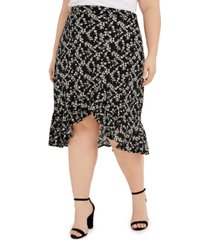 full circle trends trendy plus size printed flounce skirt