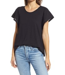gibsonlook flutter sleeve top, size x-small in black at nordstrom