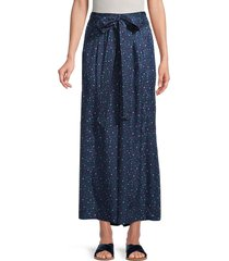 rebecca taylor women's speckle dot silk wide-leg pants - navy combo - size 4
