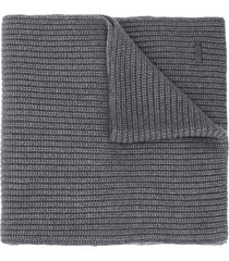 boss logo plaque ribbed-knit scarf - grey