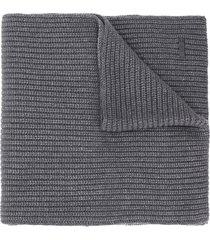 boss logo plaque ribbed-knit scarf - grey