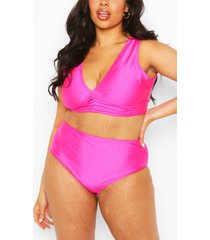 plus ruched bikini top & high waisted brief, bright pink