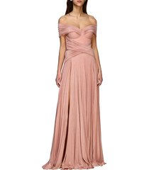elisabetta franchi dress elisabetta franchi long dress in lurex fabric with drapery