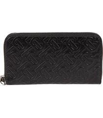 burberry embossed logo motif zip-around wallet