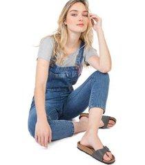 jardineira jeans taco algodão stone feminina
