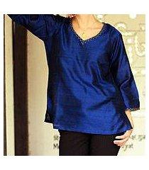 silk tunic, 'grand sapphire' (india)