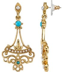 downton abbey gold-tone simulated pearl and imitation turquoise drop earrings