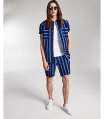 inc international concepts men's exploded stripe seersucker shirt, created for macy's