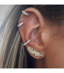 moda 4 pezzi orecchini oro orecchio clip foglia orecchini a forma di strass orecchini regalo per le donne