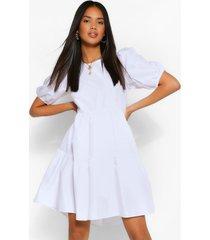 oversized puff sleeve smock dress, white