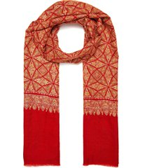 geometric paisley embroidered pashmina scarf