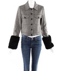 veronica beard burke black herringbone wool faux fur cuff jacket black/white sz: s