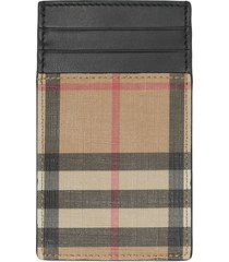 burberry vintage check e-canvas and leather card case - black