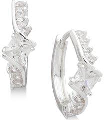 """anne klein small silver-tone crystal huggie hoop earrings 2/3"""""""