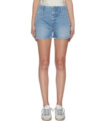 'retro' panelled denim shorts