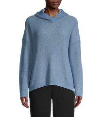 eileen fisher women's textured box-top hoodie - haze - size s