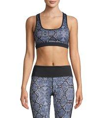 roberto cavalli sport women's snakeskin-print sports bra - black - size xs