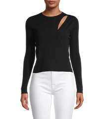 525 america women's layered cutout top - black - size l
