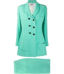 chanel pre-owned 1990s skirt suit - green