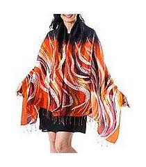 silk batik shawl, 'marigold flames' (thailand)