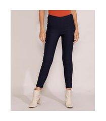 calça legging feminina cintura alta com recortes azul marinho