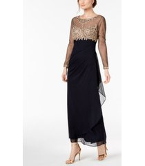 xscape embellished ruched gown, regular & petite sizes