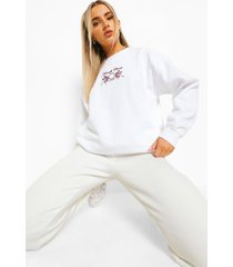oversized geborduurde amalfi sweater, white