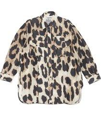 ganni maxi animalier shirt