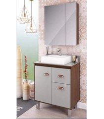 gabinete para banheiro 65cm com cesto roupa lilies móveis