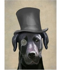 "fab funky black labrador, formal hound and hat canvas art - 36.5"" x 48"""