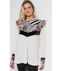 sweater tamara blanco mandalas violeta natalia seguel