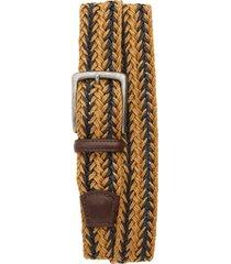men's big & tall torino woven linen belt, size 46 - camel/ navy
