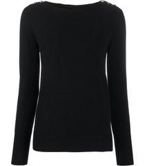 twin-set suéter com botões de cristais - preto