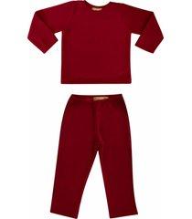conjunto de pijama em soft grosso douvelin vermelho - vermelho - poliã©ster - dafiti