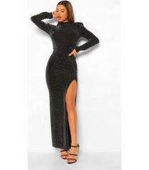 maxi jurk met hoge hals en split, black