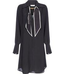 givenchy logo-scarf detail silk shirt dress