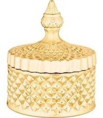 pote potiche decorativo dourado vidro c/ tampa trabalhada - dourado - feminino - dafiti