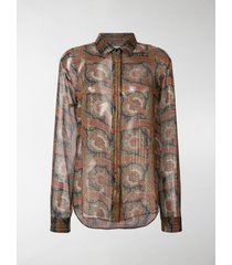 saint laurent paisley embroidered shirt